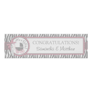 Carriage, Zebra Print, Pink Baby Shower Banner Poster