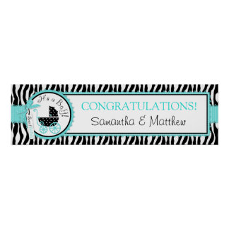 Carriage, Zebra Print Turquoise Baby Shower Banner