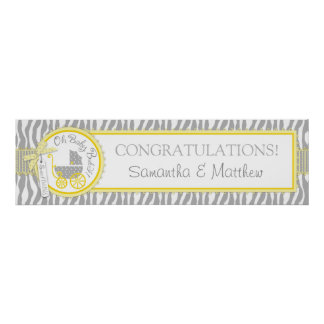 Carriage, Zebra Print, Yellow Baby Shower Banner Poster