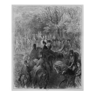 Carriages and riders at Hyde Park Poster