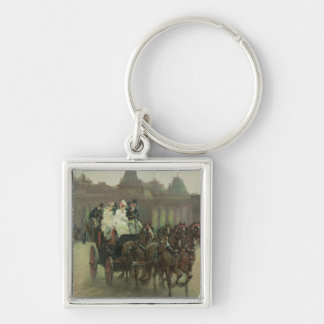 Carriages at Hyde Park Silver-Colored Square Keychain