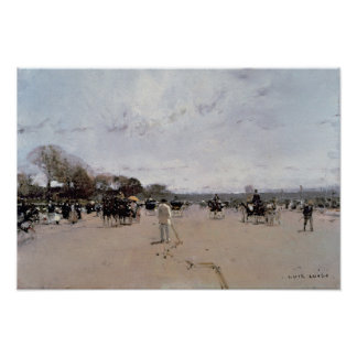 Carriages on the Champs Elysees Poster