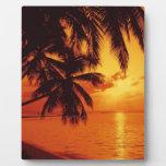carribean sunset tropical beach plaque