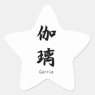 Carrie tradujo a símbolos japoneses del kanji calcomanía cuadrada