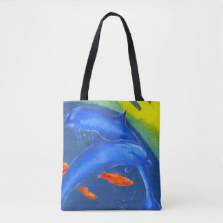 Carrier Tote Bag with Dolphins and Goldfish