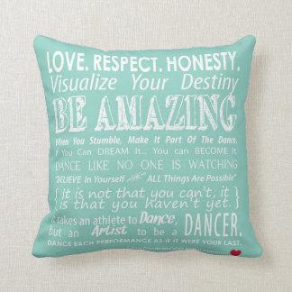 Carrie's Inspirational Dance Quotes Pillow- Aqua Throw Pillow