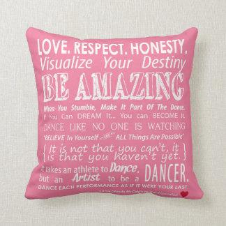 Carrie's Inspirational Dance Quotes Pillow- Pink Throw Pillow