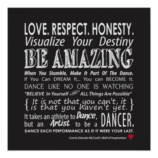 Inspirational Dance Quotes Unique Carrie's Wall Of Inspirational Dance Quotes Black Poster  Zazzle