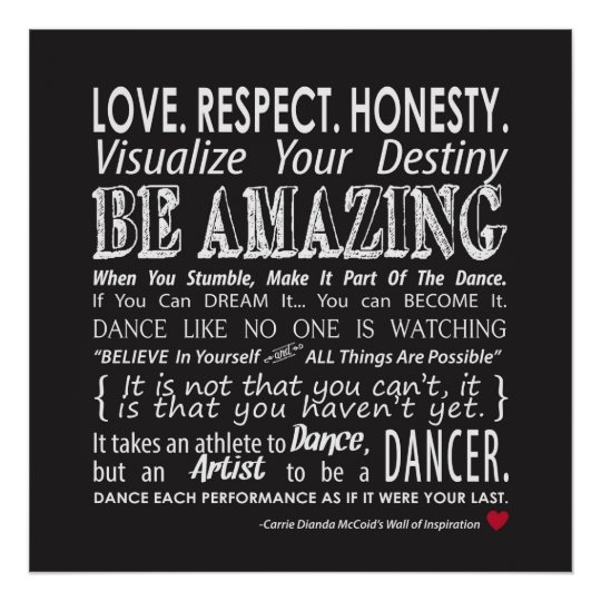 carrie s wall of inspirational dance quotes black poster zazzle com