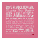Carrie's Wall of Inspirational Dance Quotes- Pink Poster