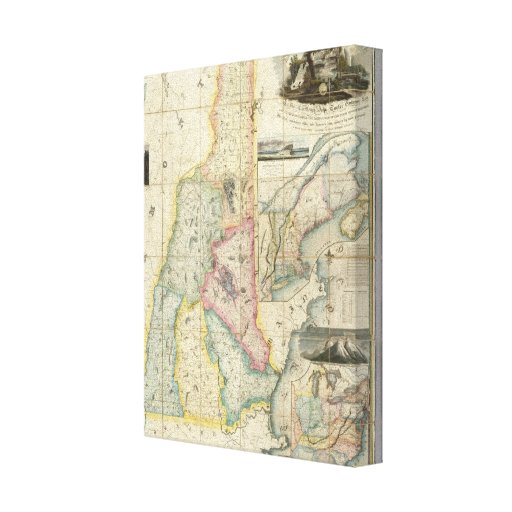 Carrigain Map of New Hampshire Stretched Canvas Prints