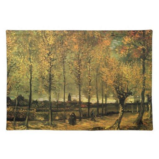 Carril con los álamos de Vincent van Gogh. Manteles