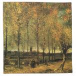 Carril con los álamos de Vincent van Gogh. Servilleta Imprimida