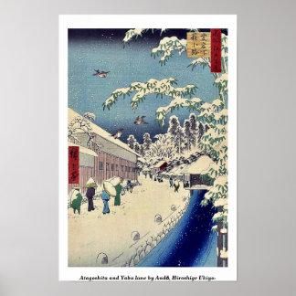 Carril de Atagoshita y de Yabu por Andō, Hiroshige Póster