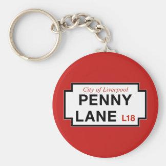 Carril del penique, placa de calle, Liverpool, Llavero Redondo Tipo Chapa