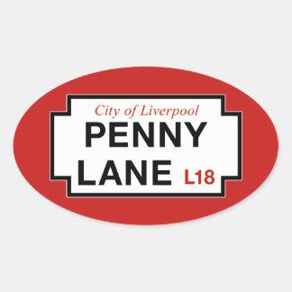 Carril del penique, placa de calle, Liverpool, Pegatina Ovalada
