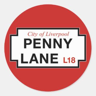 Carril del penique, placa de calle, Liverpool, Pegatina Redonda