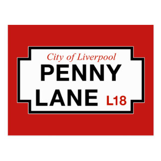 Carril del penique, placa de calle, Liverpool, Postales