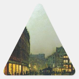 Carril del verraco, Leeds de Juan Atkinson Pegatina Triangular