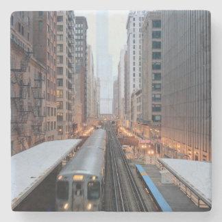 Carril elevado en Chicago céntrica sobre Wabash Posavasos De Piedra