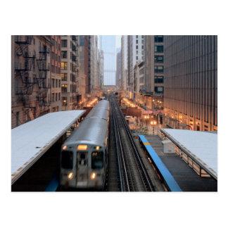 Carril elevado en Chicago céntrica sobre Wabash Postales