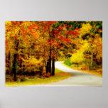 Carril reservado del país en poster del otoño