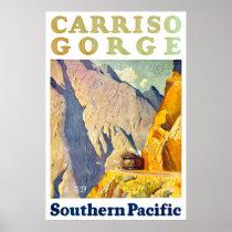 Carriso Gorge USA Vintage Travel Poster Restored