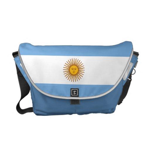 Carrito azul de la bandera de la Argentina de la s Bolsa De Mensajeria