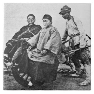 Carrito chino, c.1870 (foto de b/w) azulejos ceramicos