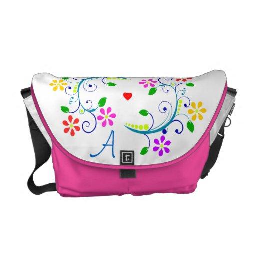 Carrito del monograma del personalizar floral y co bolsas messenger