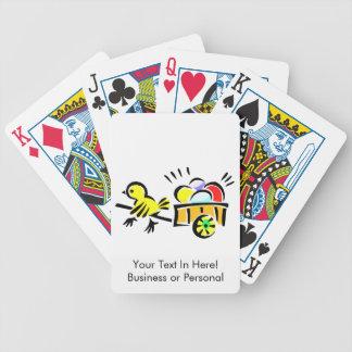 carro amarillo del polluelo por completo de los hu baraja de cartas
