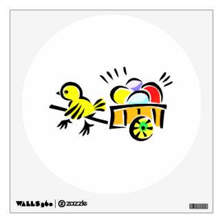 carro amarillo del polluelo por completo de los hu vinilo adhesivo