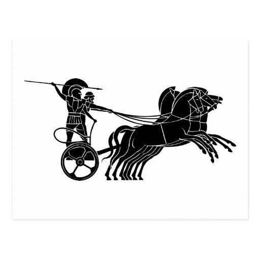 Carro (carro) del caballo, diseño griego del alivi postales