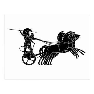 Carro (carro) del caballo, diseño griego del tarjeta postal