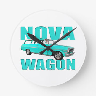carro chevy de la Nova 1963 II azul claro Reloj Redondo Mediano