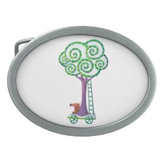 Carro con el árbol mágico hebilla cinturon oval