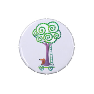 Carro con el árbol mágico jarrones de dulces