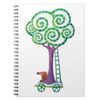 Carro con el árbol mágico libreta