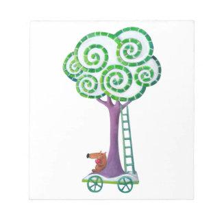 Carro con el árbol mágico libretas para notas