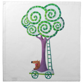 Carro con el árbol mágico servilleta imprimida