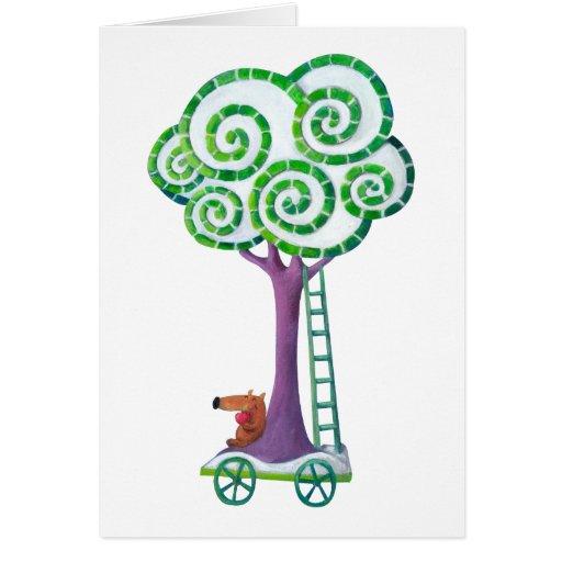 Carro con el árbol mágico tarjeta de felicitación