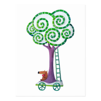Carro con el árbol mágico tarjetas postales