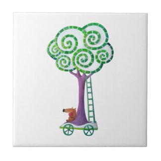 Carro con el árbol mágico teja