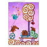 Carro con el árbol y el banco mágicos felicitaciones