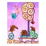 Carro con el árbol y el banco mágicos tarjeta postal