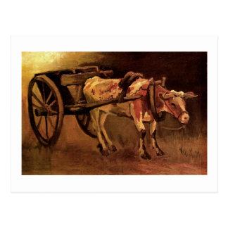 Carro con el buey rojo y blanco, Vincent van Gogh Tarjeta Postal