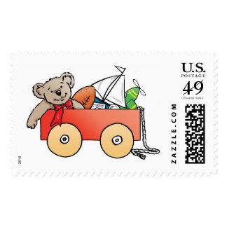carro con los juguetes para un muchacho timbre postal