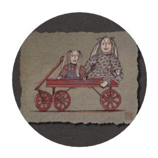 Carro, conejo y muñecas rojos fichas de póquer