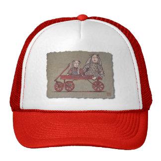 Carro, conejo y muñecas rojos gorras de camionero