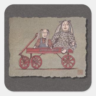 Carro, conejo y muñecas rojos pegatina cuadrada